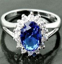 NEW Princess Diana Royal Blue Sapphire CZ Fashion Ring 18K White Gold Filled 6