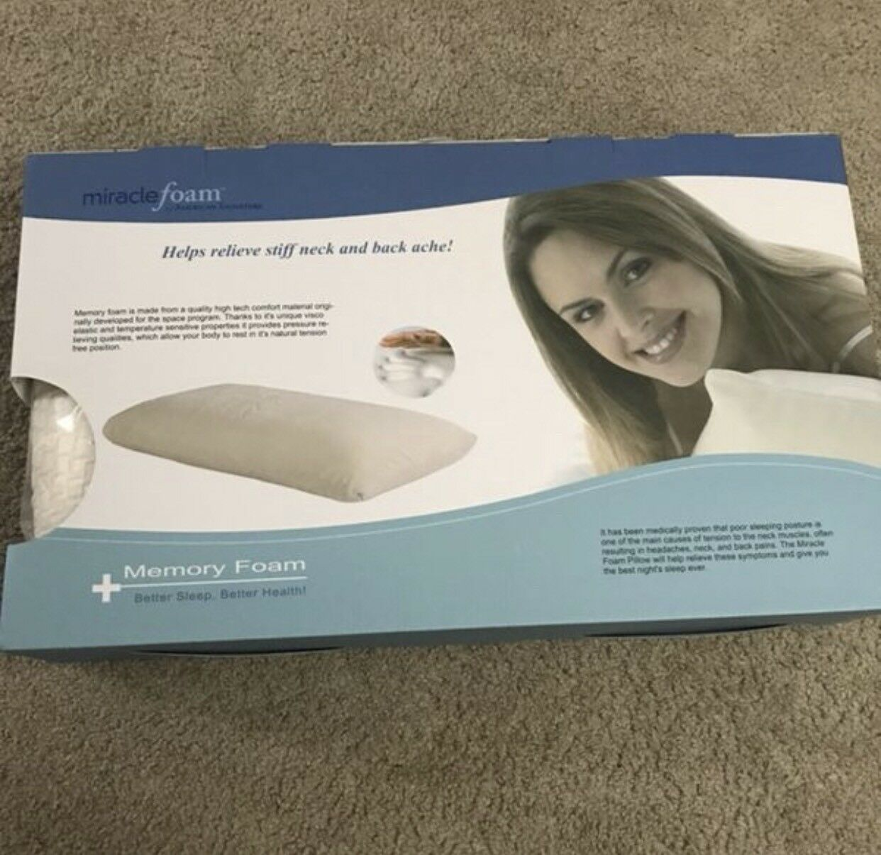 Miracle foam traditional Sleep system \ Memory Foam Pillow \ 2 pieces \ with box