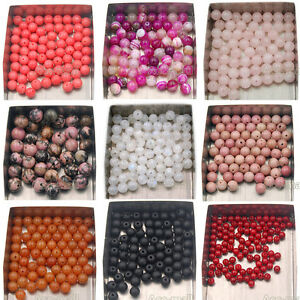 Natural-Gemstone-Round-Spacer-Loose-Beads-4mm-6mm-8mm-10mm-Assorted-Stone-Bead