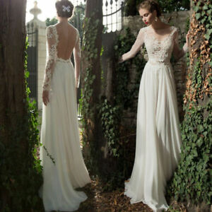 Womens Lace Chiffon Wedding Party Long Dress Slim Fit Long Sleeve Prom Ball Gown Ebay