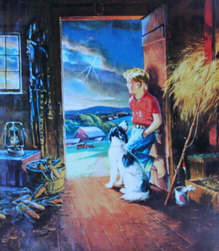 Boy in Barn Looking at Storm by Harold Anderson