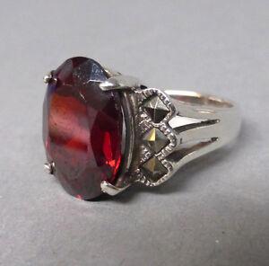 Schoener-Art-Deco-Ring-Silber-925-roter-Stein-Markasit-Groesse-49-50-KLEIN