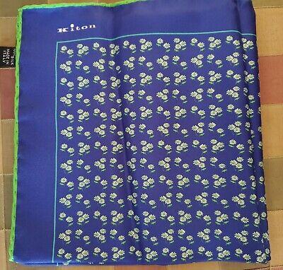 Kiton Blue /& Purple Floral Silk Pocket Square Handmade In Italy