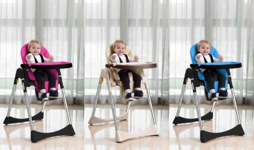 Velu Baby Child Highchair Feeding Chair Compact High Chair Soft Leather Foldable