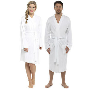 2235f80fae5 Details about Ladies Mens White Lightweight Changing Waffle Bath Robe  Cotton Dressing Gown