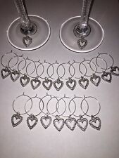 20 x Wine glass charms silver tone heart pendant wedding birthdays handmade