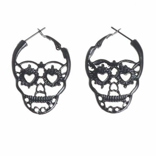 Femmes Mode Crâne Boucles D/'oreilles Punk Cœur Forme Yeux Creux Floral Dangle Bijoux