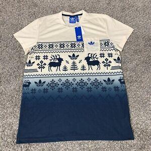 reptiles conocido masculino  Adidas Nordic Pocket T-Shirt Gradient Christmas Print Men's XL NWT  888596857921 | eBay