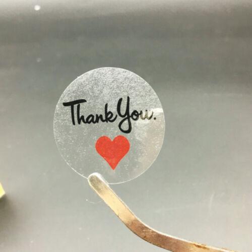100 ~ Rojo Negro Transparente gracias etiqueta adhesivo de sellado Sticke//boda Hágalo usted mismo