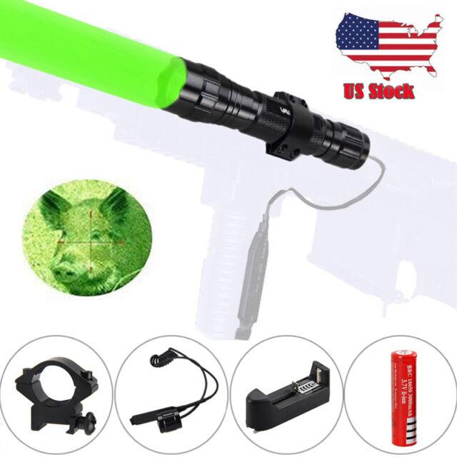 Tactical Green Light LED Hunting Flashlight W// 20mm Picatinny Rail Scope Mount