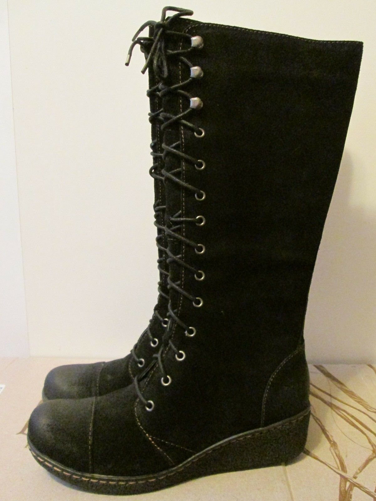 150 Born Sheree Black 100% Leather Knee High Lace Up Military Style Boots 8 NEW
