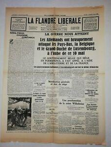 N850-La-Une-Du-Journal-La-Flandre-liberale-11-mai-1940-la-guerre-nous-atteint
