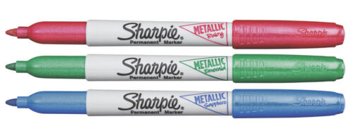 Red Blue Green Sharpie Permanent Markers Metallic Colors Fine Point 3 Pack