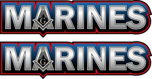 "ProSticker 098.6L Two 1.5/"" x 6/"" Masonic Freemason Marines Decals Stickers"