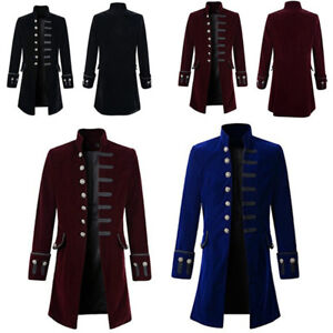 593827c9f0fc Image is loading Mens-Tailcoat-Steampunk-Victorian-Frock-Gothic-Pirate- Military-
