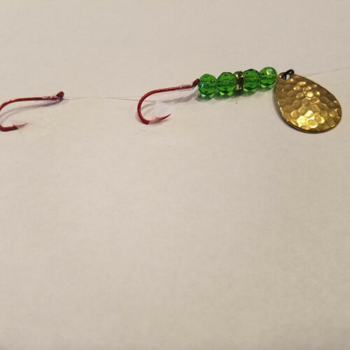 5 worm harnesses green on green hand tied fishing lures walleye-kokanee