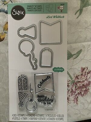 Present Sizzix Happy Birthday Stamps /& Dies Balloon Party Hat Celebrate