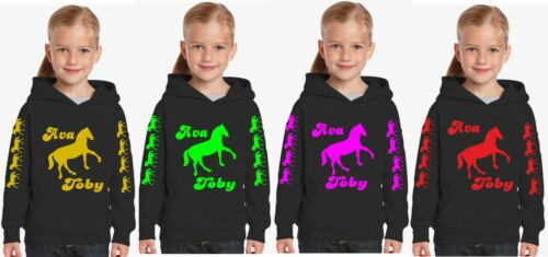 CHILDRENS HORSE PERSONALISED GLITTER PRINTS quality girls  hoodies