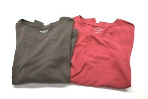 Lot-of-2-Sonoma-Women-039-s-M-Short-Long-Sleeve-Basic-Classic-Cotton-Tee-Brown-Red