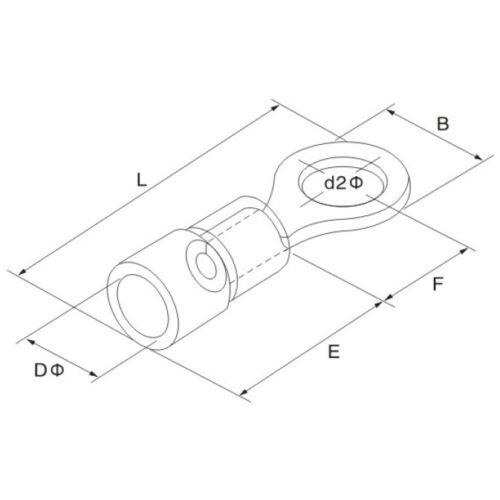 25 x Ringkabelschuhe 0,50-1,5mm² M6 rot isoliert Ringschuhe Kabelschuhe