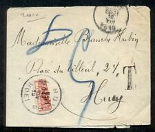 BELGIUM 1919, 10c Postage Due BISECT (J13) tied on cover front, APS cert