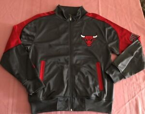 Chicago-Bulls-Full-Zip-Jacket-Youth-Large-Tall-Gray-Red-Embroidered-Logos-NBA