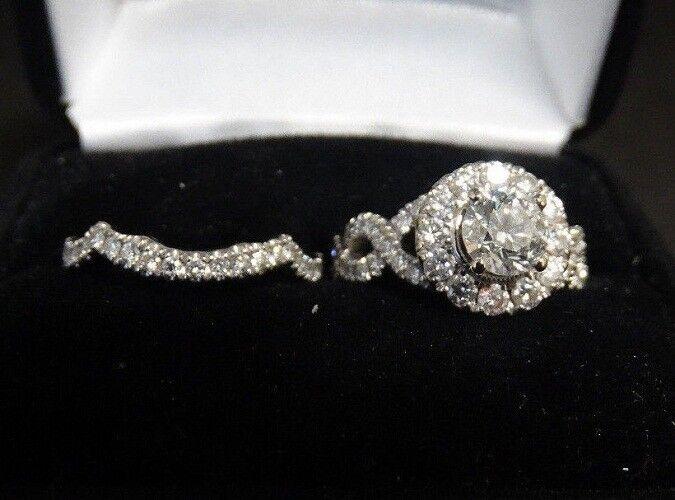 Round Cut Diamond Bridal Wedding Engagement Ring Set 2 CT 14k White gold Finish