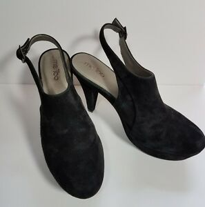 9adfd7e1c54 Details about Black Suede 11M Leather Slingback High Heel Clogs Mules Pumps  Me Too