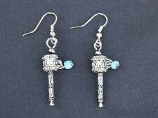Pair Vintage Tibetan Turquoise OM Mani Spin Prayer Wheel Dangle Amulet Earrings