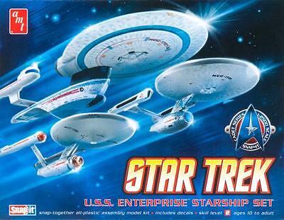 AMT 1/2500 Star Trek USS Enterprise 3'N1 NC1701/1701A/1701B Model Kits (3 ships)