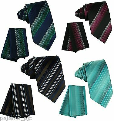 Men's Neck tie and & Pocket Square Hankie Set Formal Party Wedding Prom Two Tone