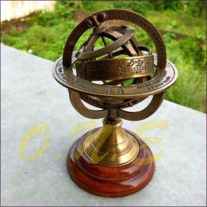 Antique-Astrolabe-Brass-Sphere-Armillary-Collectible-Nautical-Decor-Wooden-Base