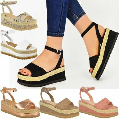 New Womens Ladies Chunky Espadrille Strappy Sandals Flatform Wedge Shoes Size | eBay