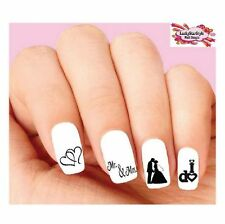 Waterslide Nail Decals Set of 20 - Wedding, Bride, Groom, Silhouette Assorted #2
