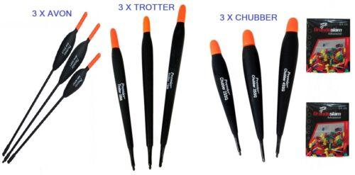 river,chub,barbel fishing Chubber balsa /& Avon floats set of 9 /& 2 pk rubbers