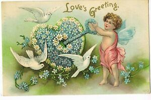 ANTIQUE-EMBOSSED-VALENTINE-Postcard-CUPID-TURNING-KEY-TO-OPEN-FLORAL-HEART