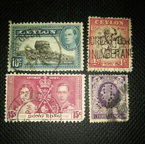 Lot-of-4-diff-very-vintage-stamps-from-Worldwide
