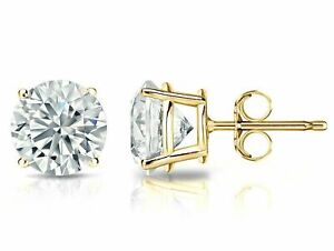 1.25 ct. White Sapphire Round Stud Earrings set in 14k Solid Yellow Gold