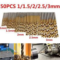 50x Titanium Coated HSS High Speed Steel Drill Bit Set Tool Size 1/1.5/2/2.5/3mm