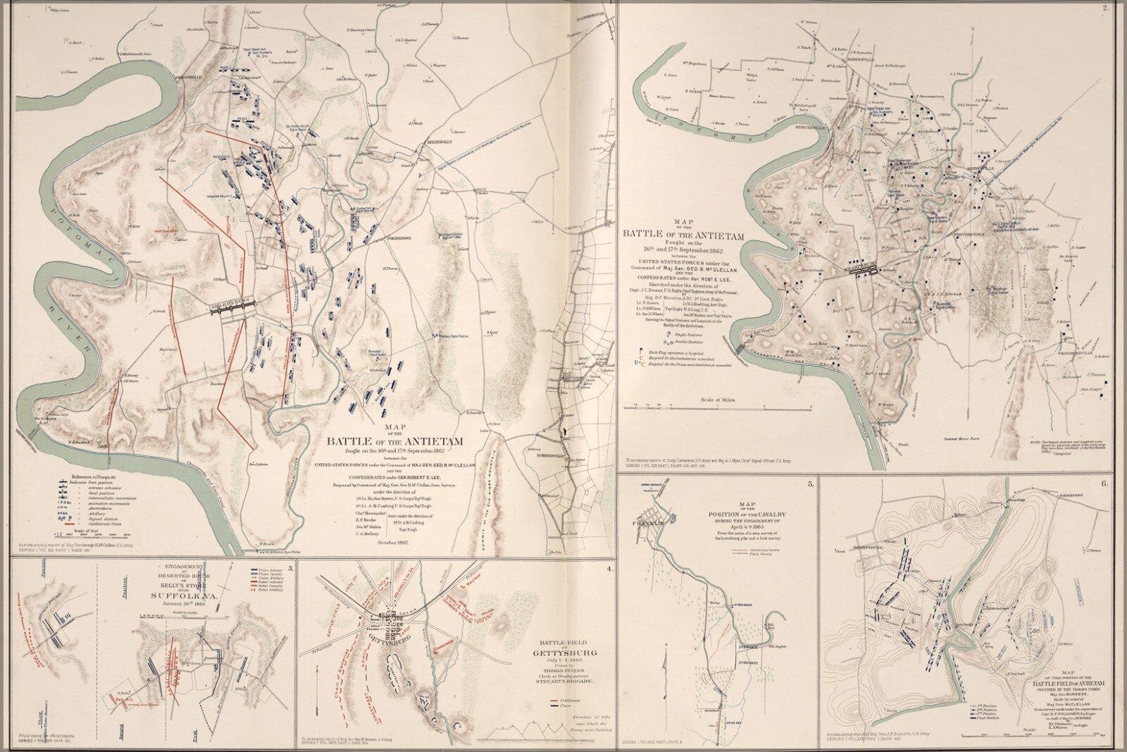 Plakat, Viele Größen; KKunste von Battle Of Antietam, Md Suffolk, VA Gettysburg,