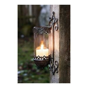Image Is Loading Vintage Iron Garden Pillar Candle Holder Metal Wall