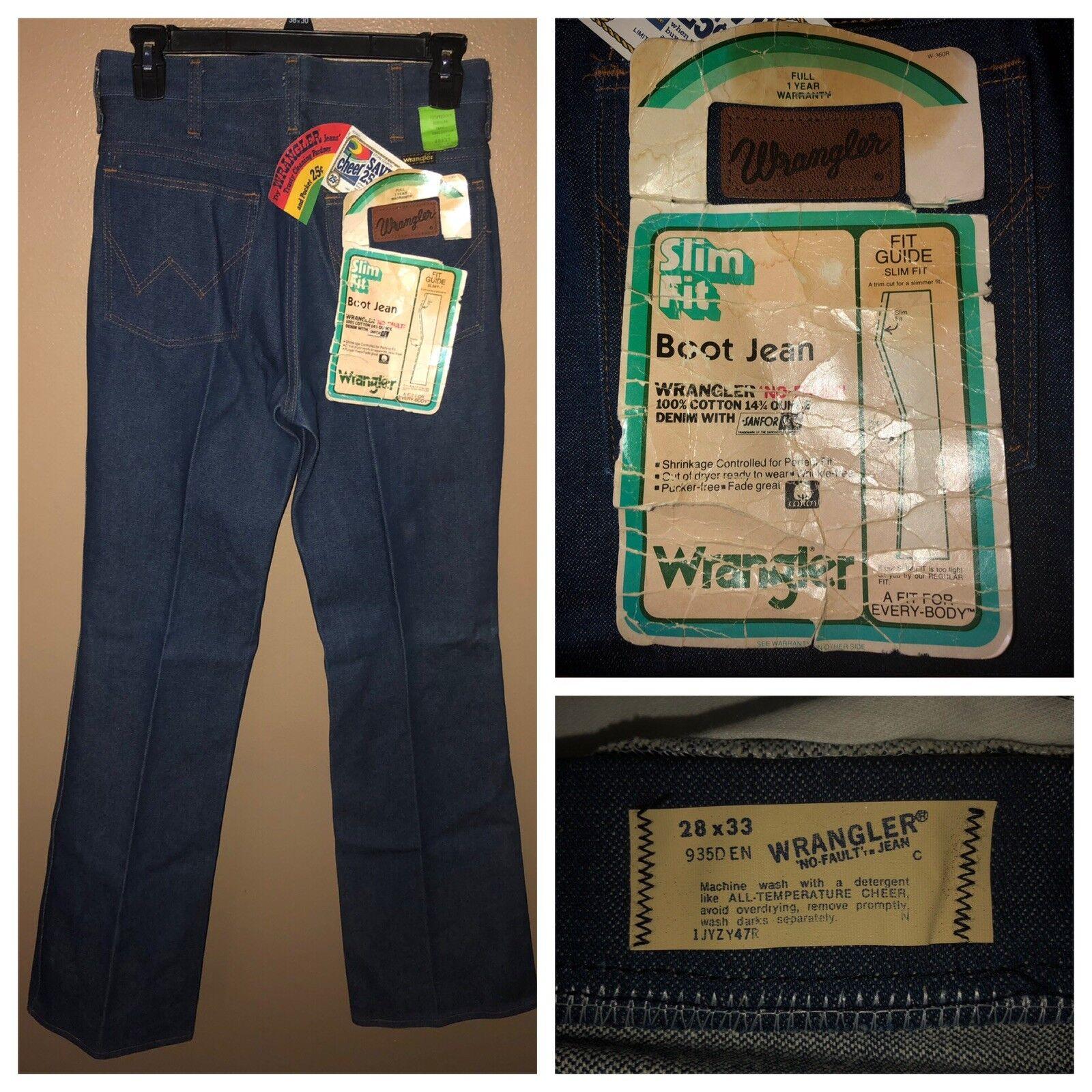 VTG 70s WRANGLER Men's Slim Fit Boot Denim bluee Jeans NO FAULT 28x33 NOS w TAGS