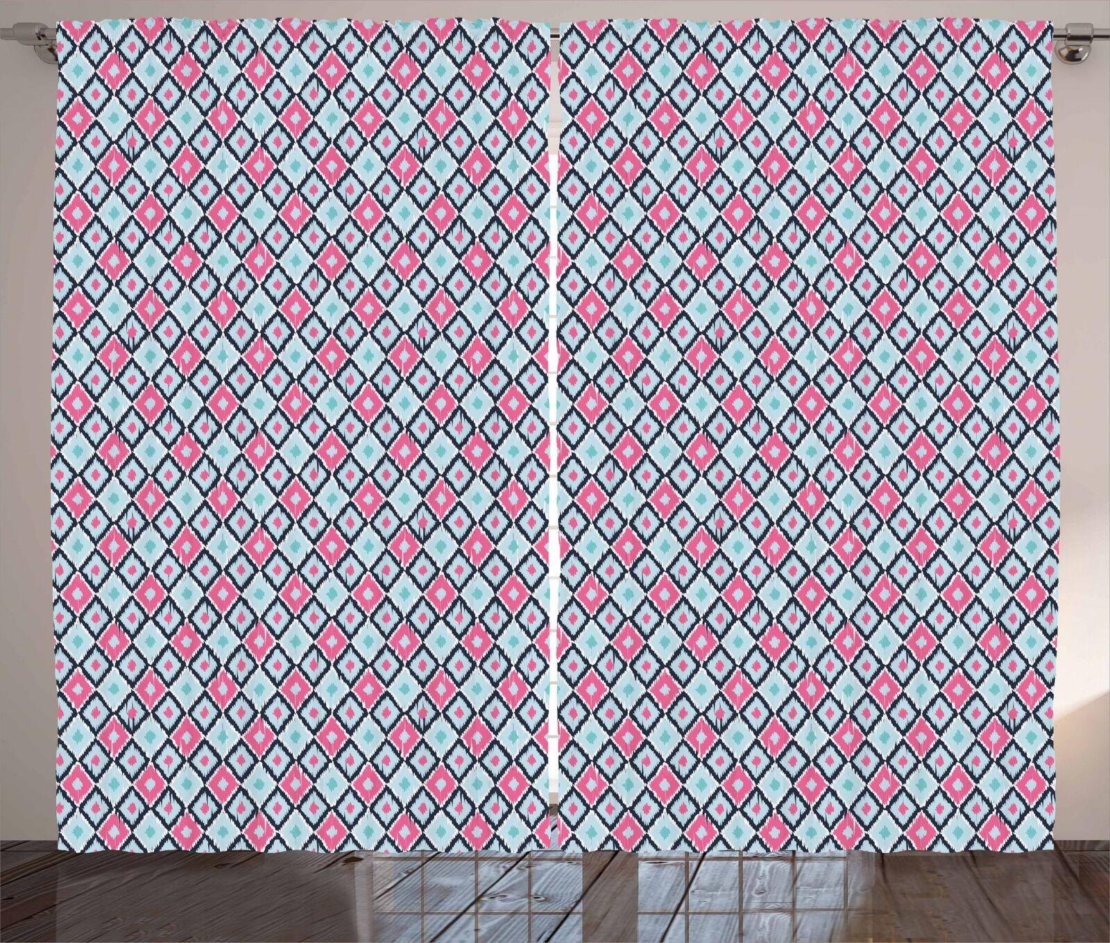 Conjunto de 2 Paneles Cortinas Ikat Decoración 5 Tamaños Disponibles Ventana Cortinas