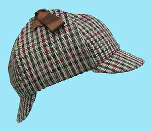 Deerstalker-Sherlock-Holmes-Chequered-Pattern-Tweed-Hat