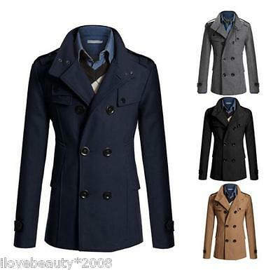 NEW Men's Stylish Double Breasted Warmer Winter Overcoat Long Trench Coat Jacket