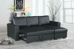 Details about Black Sleeper Sofa Pull Out Bed Small Space Sectional Couch  w/ Storage Chaise