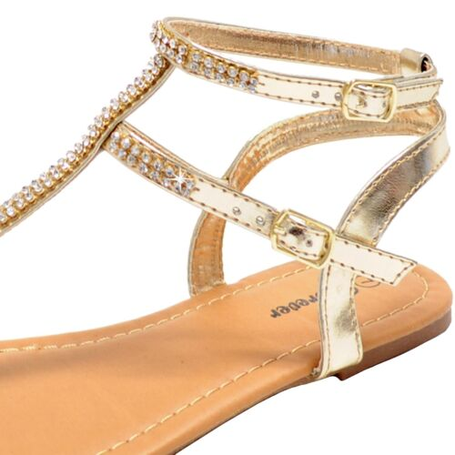 New women/'s shoes open toe t strap sandals rhinestones casual party gold summer