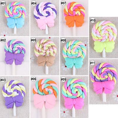 10pcs Mixed Polymer Clay Cabochon Flatback Rainbow Cartoon DIY Craft Decoration