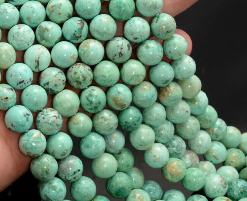 6MM Green Genuine Peruvian Turquoise Gemstone Round 7.5 Inch 80007355 H-A257