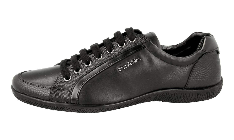 Lujo prada prada Lujo saffiano cortos zapatos 3e5620 negro nuevo New 39,5 40 UK 6.5 86cac4